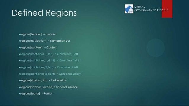 Defined Regions regions[header] = Header regions[navigation] = Navigation bar regions[content] = Content regions[conta...