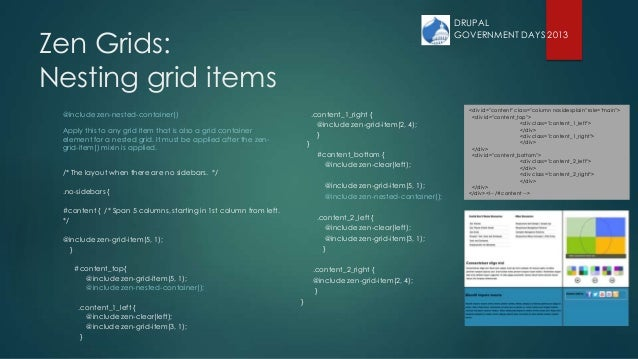 Zen Grids: Nesting grid items @include zen-nested-container() Apply this to any grid item that is also a grid container el...