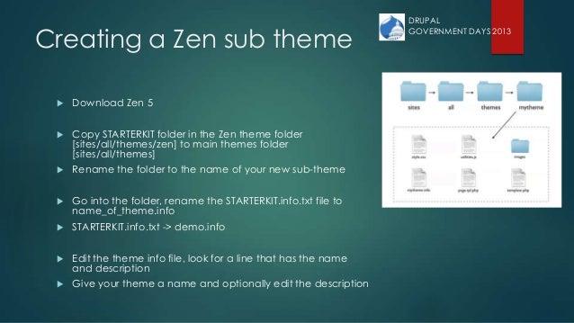 Creating a Zen sub theme  Download Zen 5  Copy STARTERKIT folder in the Zen theme folder [sites/all/themes/zen] to main ...