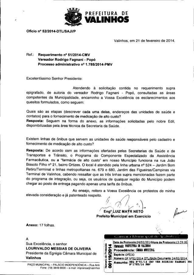 PREFEITURA  DE  VALINHOS Oficio  n° 5212014-DTL/ SAJI/P  Valinhos, em 21 de fevereiro de 2014.  Ref.:  Requerimento n° 51/...