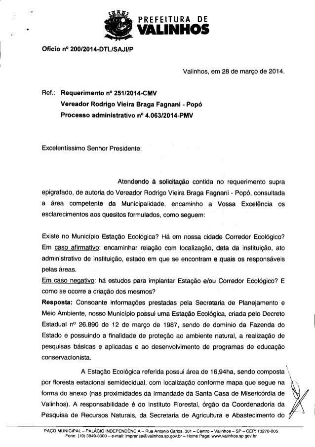 Resposta ao req. nº 251 2014 (informações sobre a estação ecológica e o corredor ecológico)