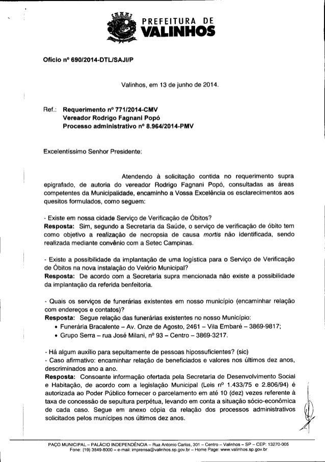 Resposta ao req. nº 771 2014 (informações sobre o serviço de verificação de óbitos)