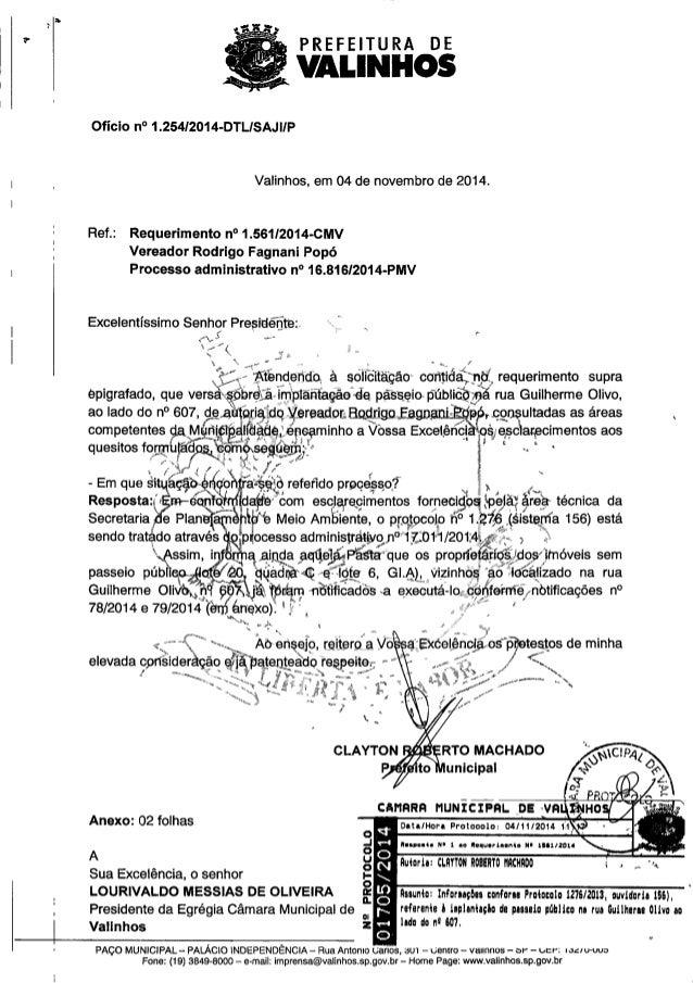 Resposta ao req. nº 1561 2014 (informações conforme protocolo 12762013 - ouvidoria 156 - referente à implantação de passei...