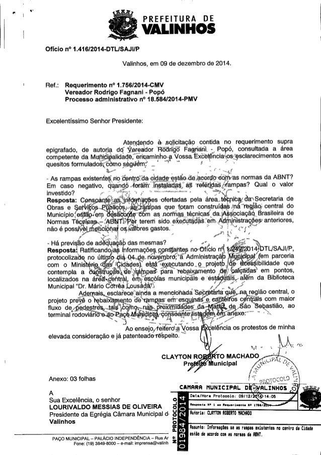 PREFEITURA DE   vALINHos  Ofício n° 1.416/2014-DTLISAJIIP     Valinhos,  em O9 de dezembro de 2014.  Ref. : Requerimento n...