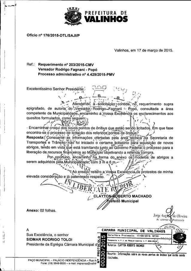 PREFEITURA DE  VALINHOS     Ofício n° 176I2015-DTLISAJIIP  Valinhos,  em 17 de março de 2015.  Ref. : Requerimento n° 203I...