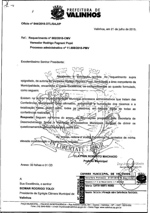 Resposta ao req. nº 882 2015 (solicita informação sobre conferências municipais)