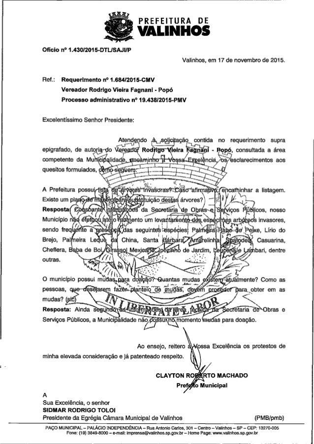 Resposta ao req. nº 1684 2015 ( informações sobre árvores invasoras e doação de mudas)