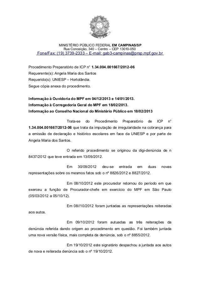 MINISTÉRIO PÚBLICO FEDERAL EM CAMPINAS/SP                   Rua Conceição, 340 – Centro – CEP 13010-050     Fone/Fax: (19)...