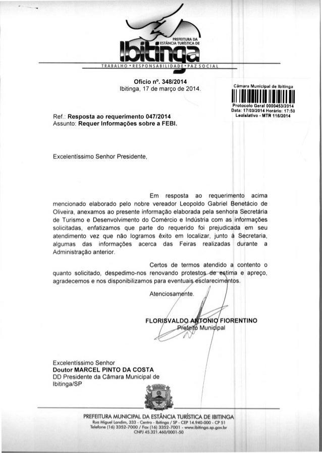 PREFEITURA DA • ESTÂNCIA TURÍSTICA DE TRABALHO • RESPONSABILIDADE•PAZ SOCIAL 11111I Ofício n°. 348/2014 Ibitinga, 17 de ma...