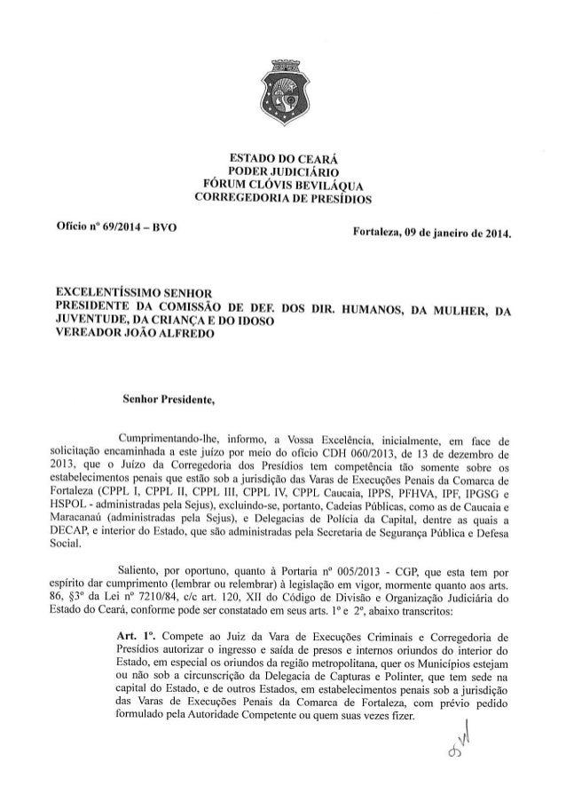 Situação Decap - Resposta do Juiz de Direito Corregedor de Presídios