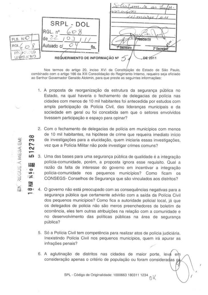 Resposta ao requerimento que solicita informações sobre a reestruturação do Sistema de Segurança Pública do Estado de SP