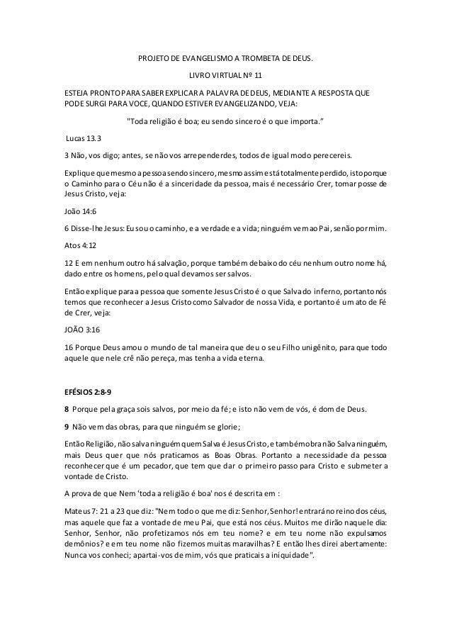 PROJETO DE EVANGELISMO A TROMBETA DE DEUS. LIVRO VIRTUAL Nº 11 ESTEJA PRONTOPARA SABEREXPLICARA PALAVRA DEDEUS, MEDIANTE A...