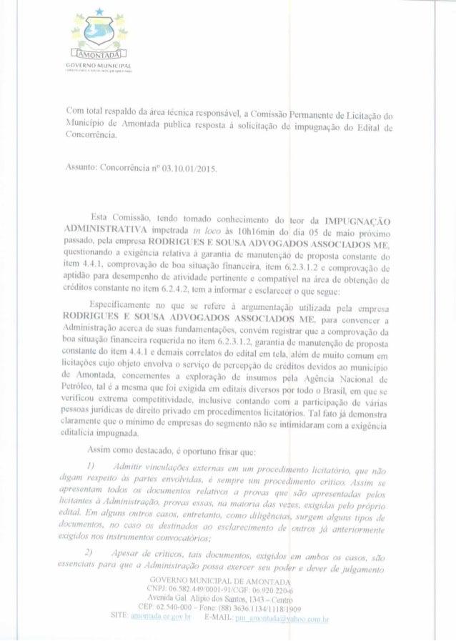 (ÉÚVIRNONIUNICIP/ U . ... ...  .. at    n 4..4›. p.. ... .  Com total respaldo da área técnica responsável,  a Comissão Pe...
