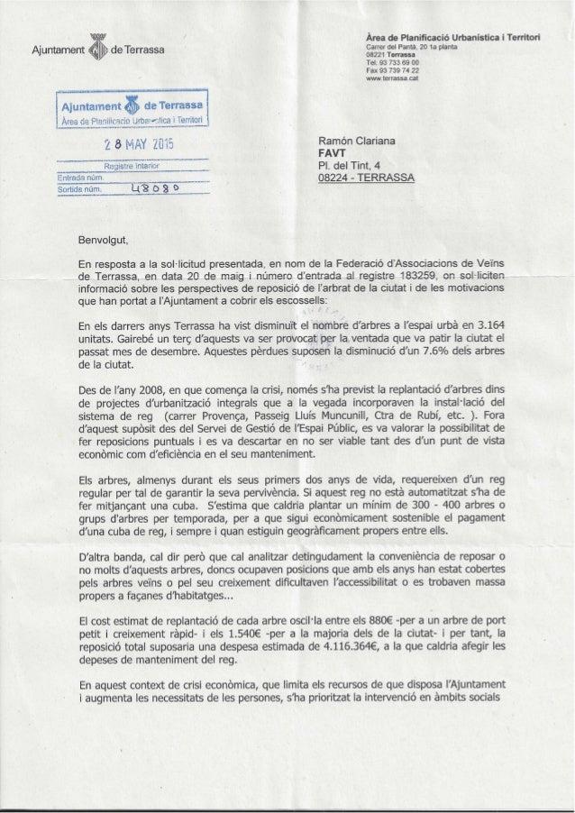 Área de Planificació Urbanística i Territori A'untam t J en /   ,  - Carrer del Pantá,  20 1a planta i' de Terrassa 08221 ...