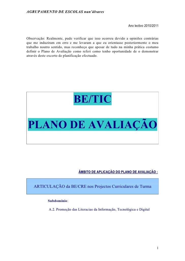 AGRUPAMENTO DE ESCOLAS nun'álvares                                                                 Ano lectivo 2010/2011Ob...