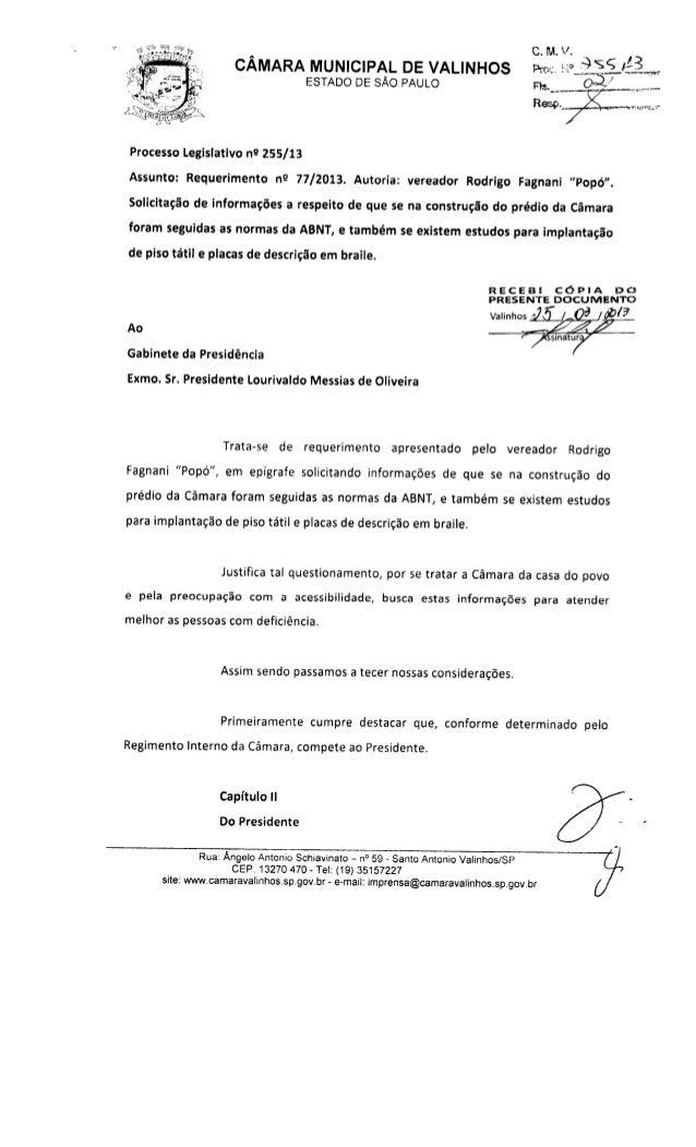 Resposta req. nº 77 2013 (informações sobre aplicação das normas abnt na construção da cmv)
