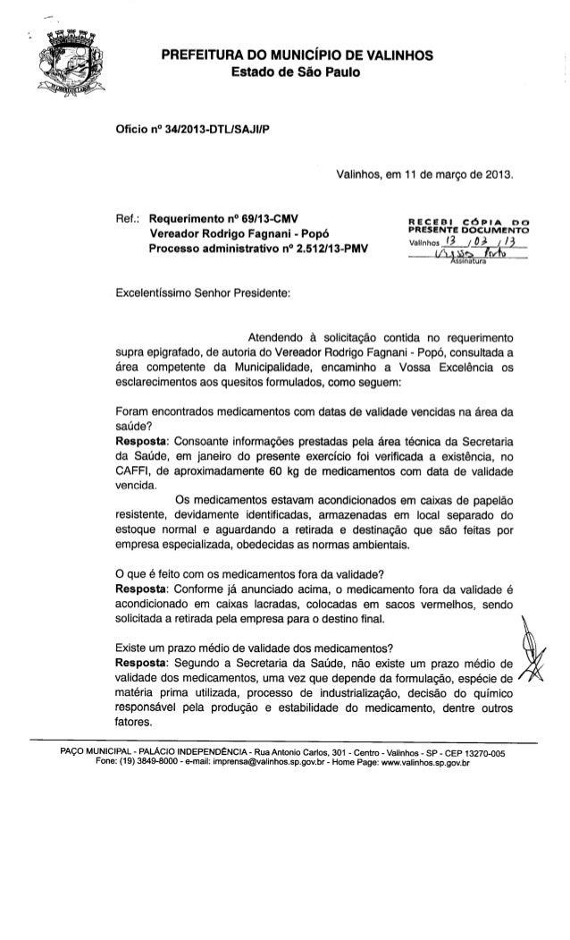 Resposta req. nº 69 2013 (informações sobre medicamentos com datas de validade vencidas)
