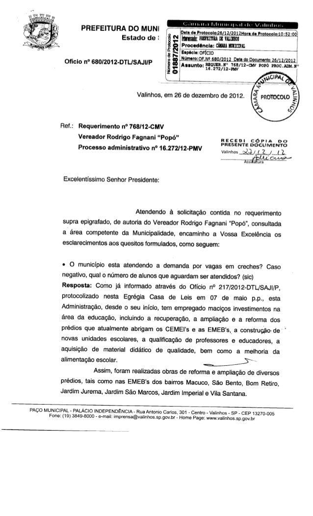 Resposta req. nº 768 2012 (vagas em creches)