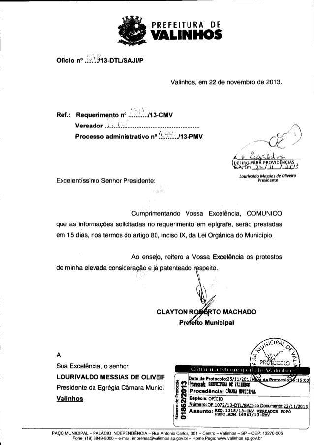 DE  PREFEITURA  VALINHOS Oficio  n°  1.14712013-DTL/ SAJIIP  Valinhos, em 06 de dezembro de 2013.  Ref.:  Requerimento  n°...
