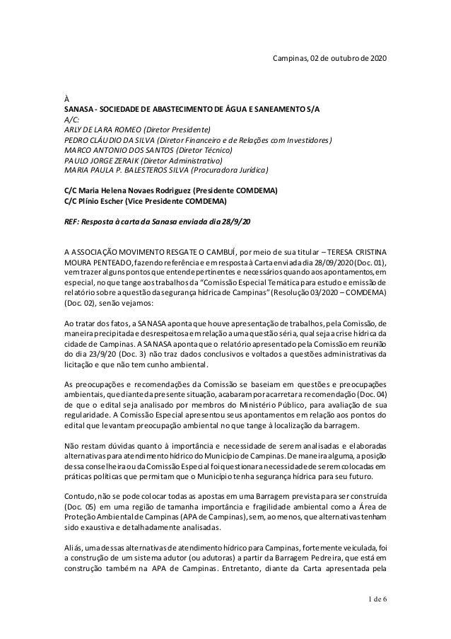 1 de 6 Campinas,02 de outubrode 2020 À SANASA - SOCIEDADE DE ABASTECIMENTO DE ÁGUA E SANEAMENTO S/A A/C: ARLY DE LARA ROME...