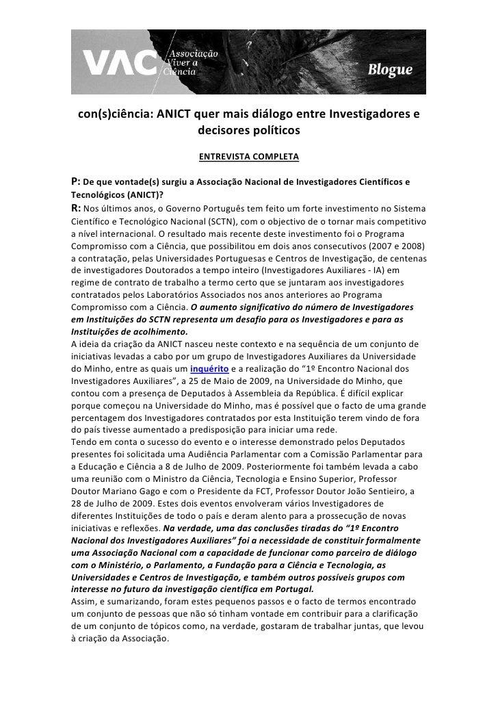 con(s)ciência: ANICT quer mais diálogo entre Investigadores e                        decisores políticos                  ...