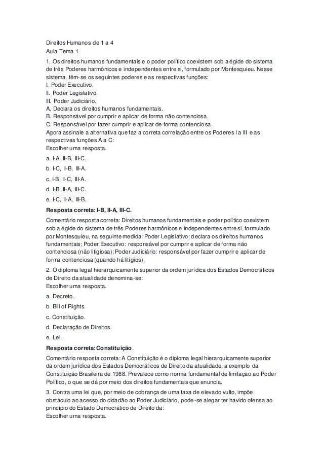 Direitos Humanos de 1 a 4 Aula Tema 1 1. Os direitos humanos fundamentais e o poder político coexistem sob a égide do sist...
