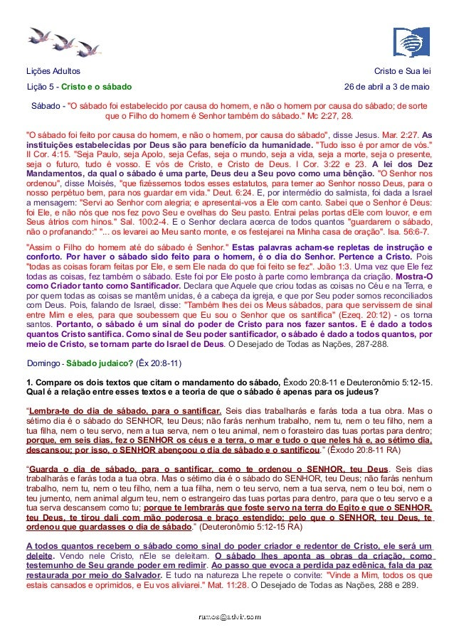 """Lições Adultos Cristo e Sua lei Lição 5 - Cristo e o sábado 26 de abril a 3 de maio Sábado - """"O sábado foi estabelecido po..."""