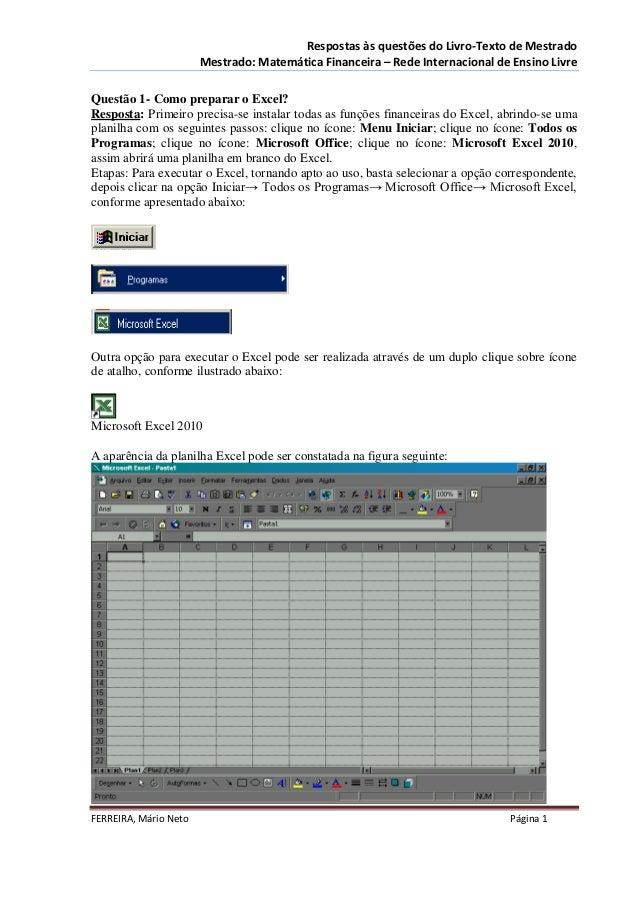Respostas às questões do Livro-Texto de Mestrado                       Mestrado: Matemática Financeira – Rede Internaciona...