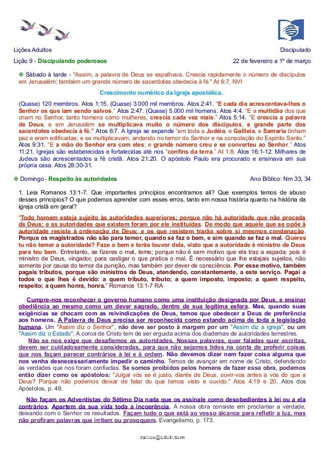 """Lições Adultos  Discipulado  Lição 9 - Discipulando poderosos  22 de fevereiro a 1º de março  ❉ Sábado à tarde - """"Assim, a..."""