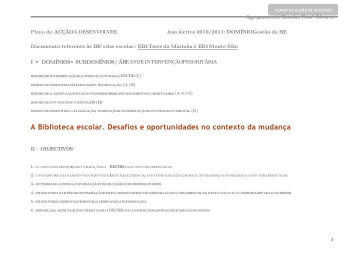 PLANO DE ACÇÃO BE 2010/2011                                                                                               ...