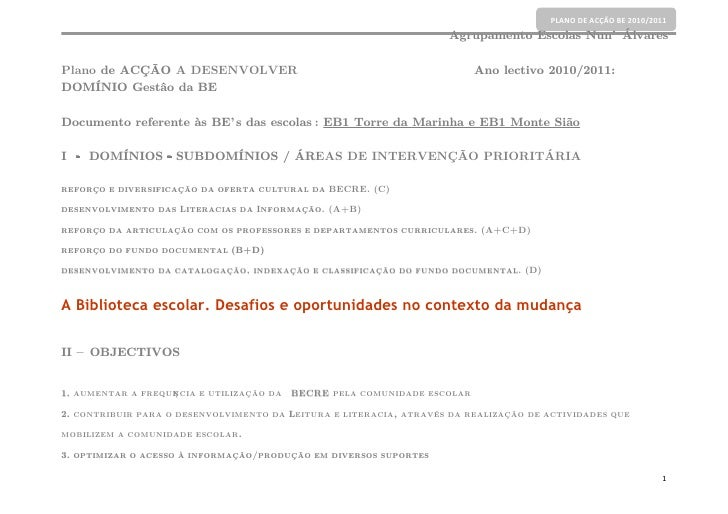 PLANO DE ACÇÃO BE 2010/2011                                                                    Agrupamento Escolas Nun' Ál...