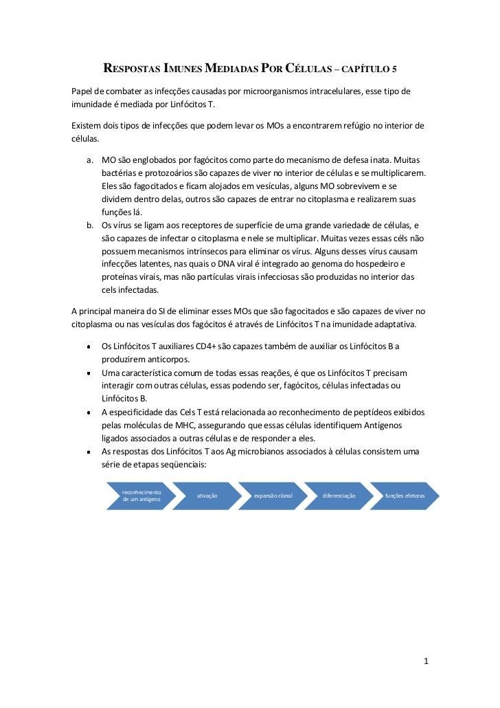 RESPOSTAS IMUNES MEDIADAS POR CÉLULAS – CAPÍTULO 5Papel de combater as infecções causadas por microorganismos intracelular...
