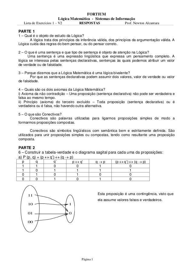 FORTIUM                            Lógica Matemática - Sistemas de Informação   Lista de Exercícios 1 – V2           RESPO...