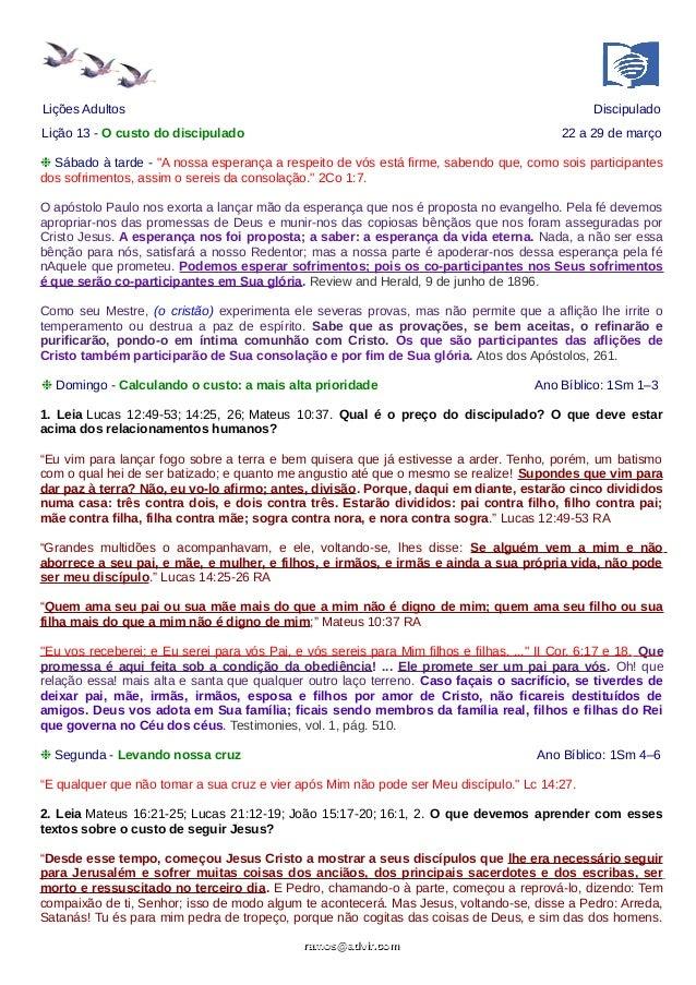 """Lições Adultos Discipulado Lição 13 - O custo do discipulado 22 a 29 de março ❉ Sábado à tarde - """"A nossa esperança a resp..."""