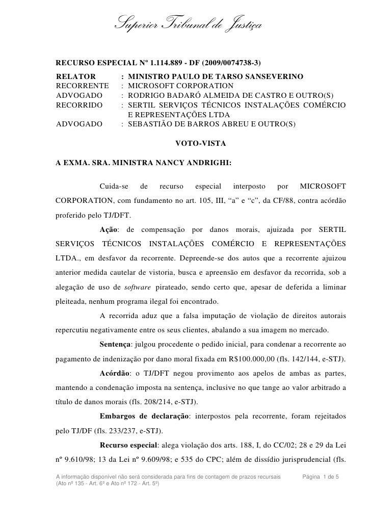 Superior Tribunal de JustiçaRECURSO ESPECIAL Nº 1.114.889 - DF (2009/0074738-3)RELATOR                 : MINISTRO PAULO DE...