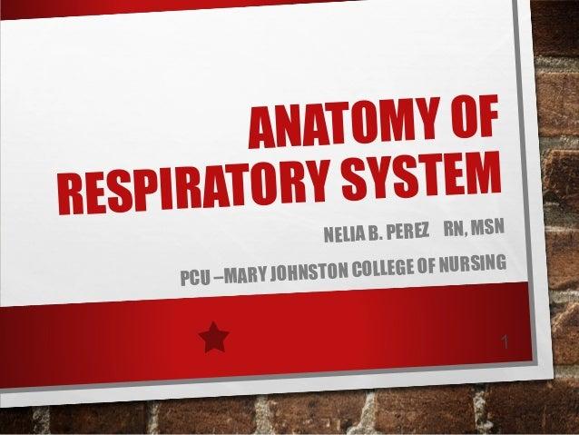 NATOMY OF A ORY SYSTEM RESPIRAT PCU –MARY JO  NELIA B. PEREZ RN, MSN G NSTON COLLEGE OF NURSIN H 1