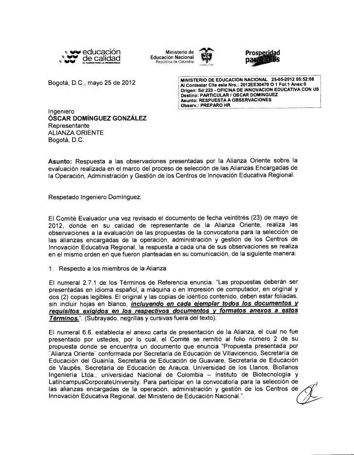 Respuesta a las observaciones realizadas por la alianza oriente v f 20120524