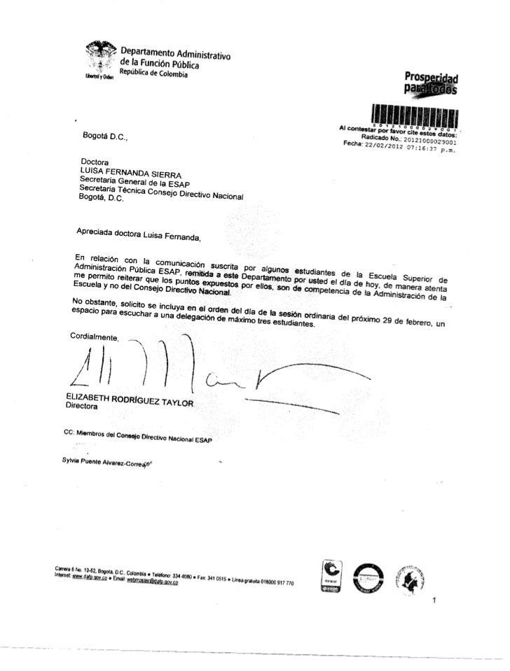 Respuesta al oficio de la ANE para el consejo directivo del 10 de febrero