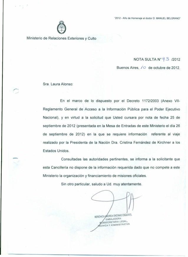 """""""2012 - Año de Homenaje al doctor D. MANUEL BELGRANO""""Ministerio de Relaciones Exteriores y CultoNOTA SULTA N° t3 /2012Buen..."""