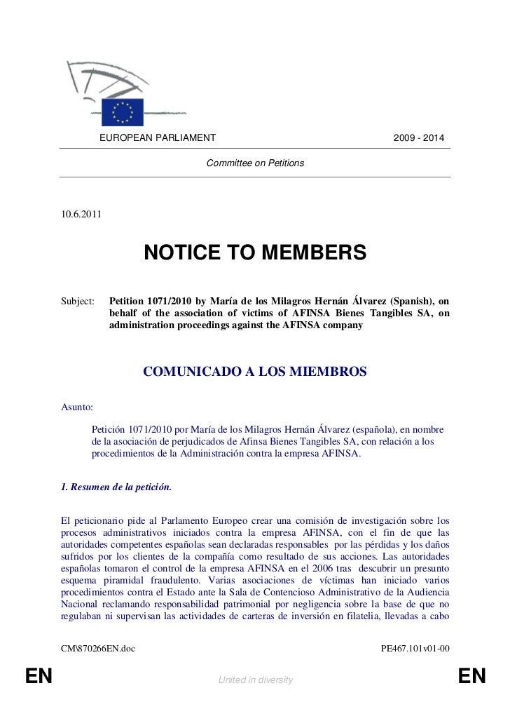 EUROPEAN PARLIAMENT                                                  2009 - 2014                                        Co...