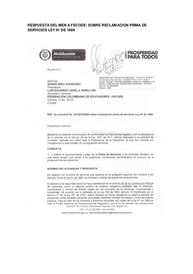 RESPUESTA DEL MEN A FECODE: SOBRE RECLAMACION PRIMA DESERVICIOS LEY 91 DE 1989.