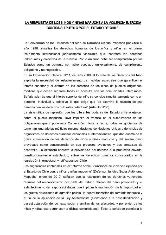 LA RESPUESTA DE LOS NIÑOS Y NIÑAS MAPUCHE A LA VIOLENCIA EJERCIDA                    NIÑO    NIÑA                 CONTRA S...