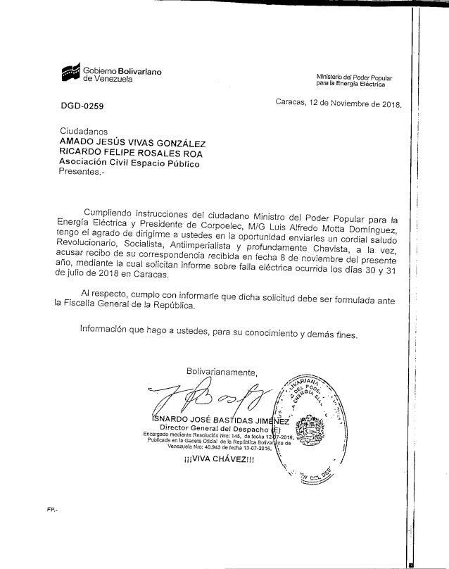 Gobierno Bolivariano deVenezuela Ministerio de! Poder Papular para la Energ�a El�ctrica DGD-0259 Caracas, 12 de Noviembre ...