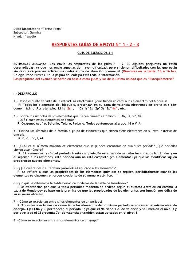 Respuestas actividades guas de apoyo 1 2 3 liceo bicentenario teresa prats subsector qumica nivel 1 medio respuestas guas urtaz Choice Image