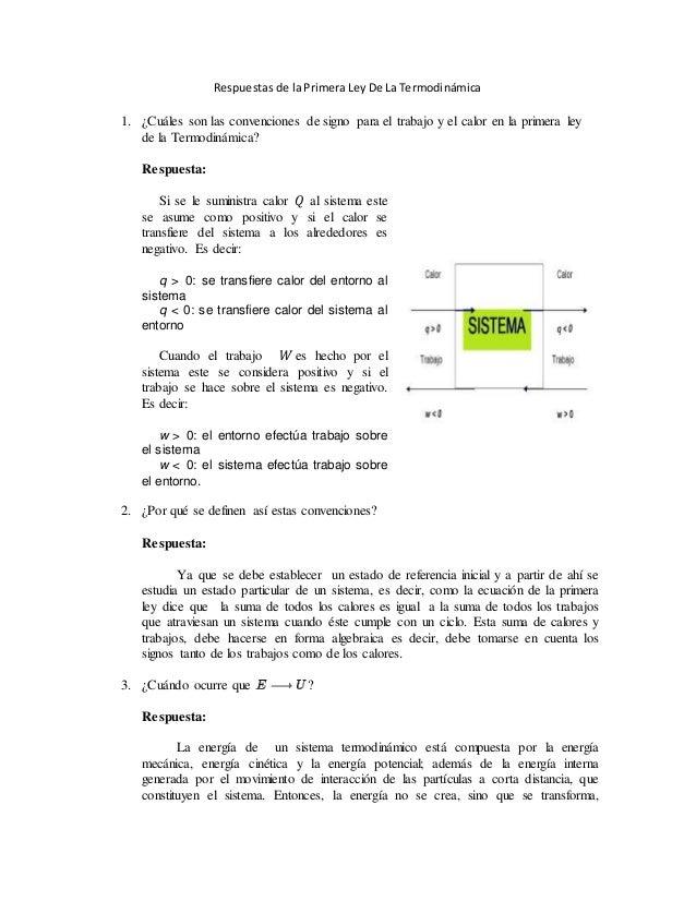 Respuestas De La Primera Ley De La Termodinámica