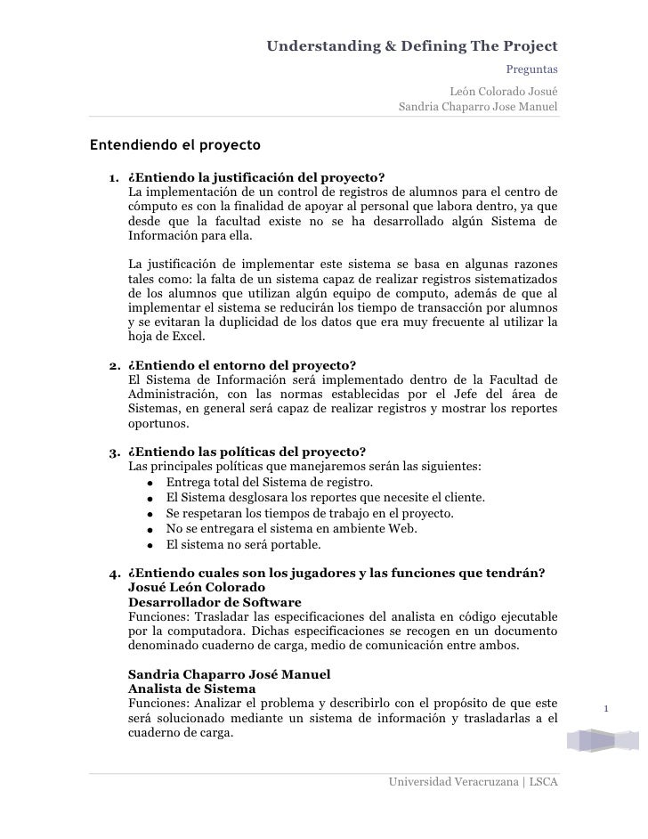 Understanding & Defining The Project                                                                           Preguntas  ...