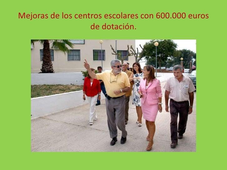 Mejoras de los centros escolares con 600.000 euros de dotación.<br />