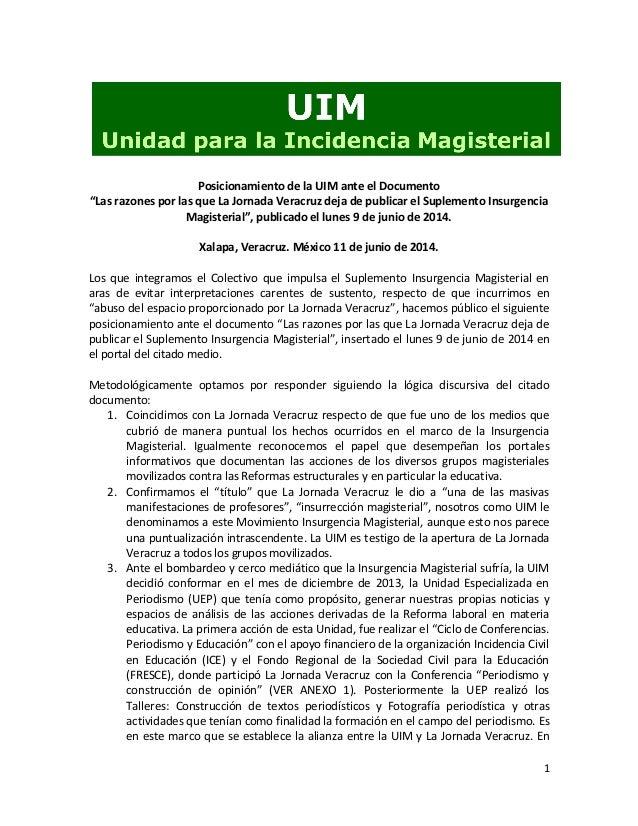 """1 Posicionamiento de la UIM ante el Documento """"Las razones por las que La Jornada Veracruz deja de publicar el Suplemento ..."""
