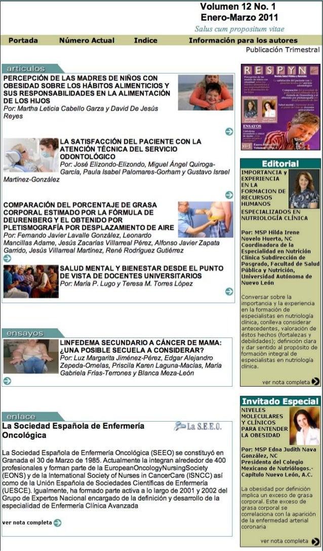 Volumen 12 No. 1 Enero-Marzo 2011 Salus cum propositum vitae Portada Número Actual Indice Información para los autores PER...