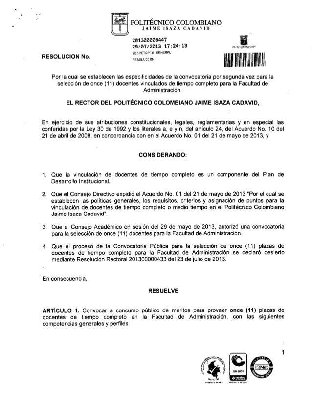 Convocatoria vinculación docente Facultad de Administración
